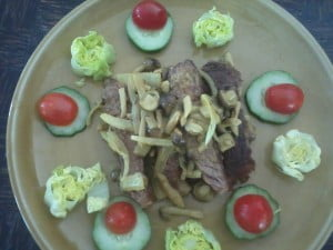 mushroom curry and steak